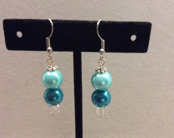 Earrings, Glass Pearl Earrings, Light Blue on Teal Glass Pearl Earrings