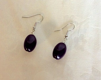 Earrings, Dark Purple Bead earrings, Drop/Dangle earrings,