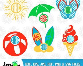 Summer Monogram, Beach SVG, Sun monogram, Ice Cream Monogram, Flip Flop SVG, Summer SVG, Beach Clipart,  instant download,  Summer 04