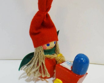 Vintage Holboll Christmas Ornament Nisse Gnome Elf Mommy & Baby Danish Handcrafted Denmark Rare Decoration