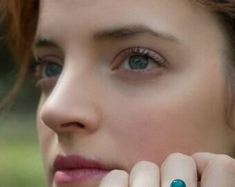 Bronze ring, Gemstone jewerly, Jade jewelry, Jade ring, Celtic jewelry, Celtic ring, Viking jewelry, Minimalist ring, Azure ring, Blue ring