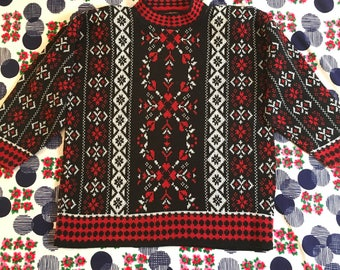Vintage Black Red White Mock Turtleneck Geometric Hearts Polka Dots Retro Sweater 1980s Shoulder Pads Fair Isle Striped Novelty Print