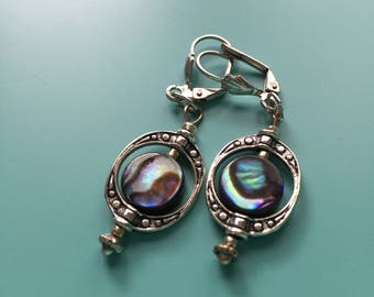 Silver Earrings / Dangle Earrings / Abalone Earrings / Drop Earrings / Gift Wrapped / Bridesmaid Gift, Statement