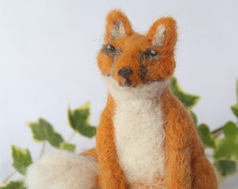 Needle Felted Fox 100% Wool