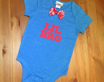 Boys Little Brother Onesie/Blue Onesie/Lil Bro Suspenders Onesie/Bowtie Onesie