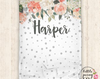 Personalized Blanket - Personalized Baby Blanket - Throw Blanket - Floral Blanket - Floral Baby Blanket - Floral Watercolor Pattern
