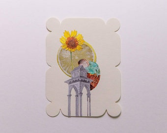 tower with shell and sunflower, original paper collage