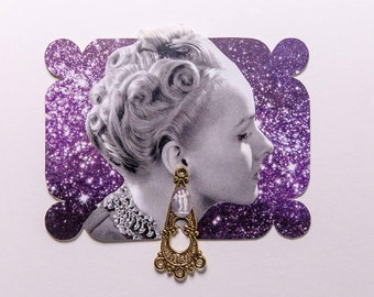 woman with earring, original paper collage