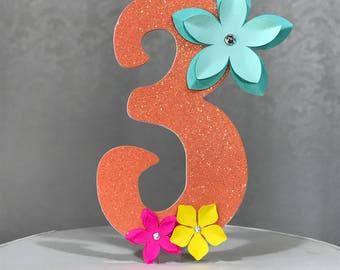 3 Birthday Cake Topper - Moana Inspired - Girl's Glitter Party Decor Hawaiian Luau Flower Girls theme / Three / Third / 3rd
