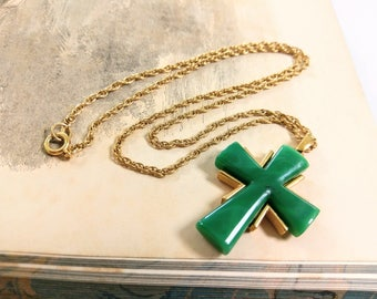 Vintage Trifari Green Bakelite Cross Necklace with Gold Chain