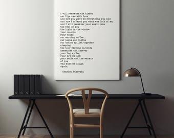 Charles Bukowski Literary Print, I Will Remember the Kisses, Raw With Love Bukowski Wall Art, Bukowski Quote Print, Typewriter Font