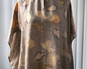 Eco printed silk tunic - naturally dyed, hand made (T2)