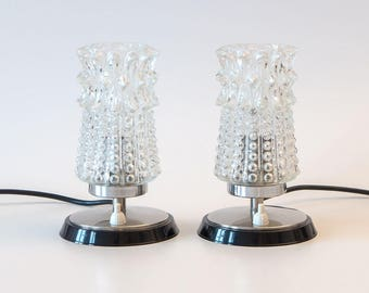 Two mid-century night table lamps from the 60s, vintage 1960-1970, Retro, table lamp