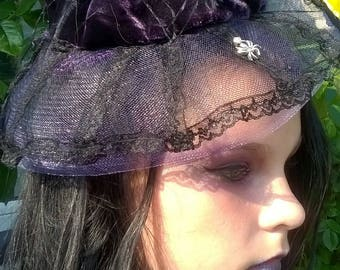 purple/black gothic hat style hair fascinator