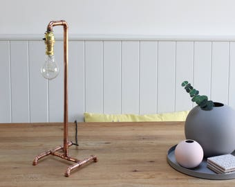 Copper Lamp Table with Edison Bulb, Copper Pipe Light, Handmade Bespoke Industrial Metal Vintage Retro Upcycling