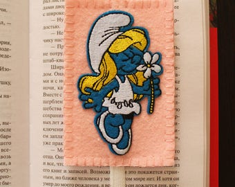 Handmade felt bookmark with elastic and Smurfette applique, bookmark for kids/ students