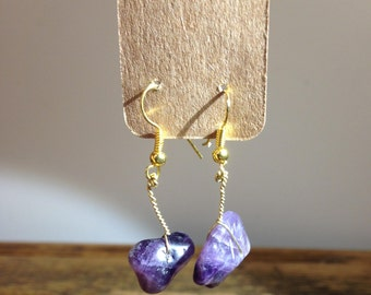 Decorated with purple agate earrings