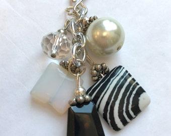 Black And White Gemstone Crystal Cluster/Slide
