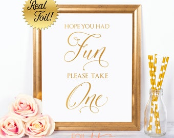 Wedding Foil Sign - Wedding Favor Sign - Real Gold Foil - Silver Foil Sign