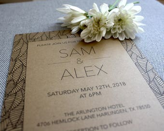 Printable Wedding Invitation and RSVP Template - Leaves