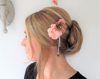 Comb hair coral flowers, peach and mocha, Bohemian, rustic and chic wedding.