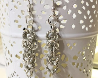 Silver chainmail earrings