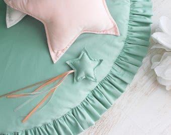 Mint play mat / Round play mat / Soft play mat / Floor mat / Play mat with ruffle / Kids play mat / Kids rug / Nursery / Kids room