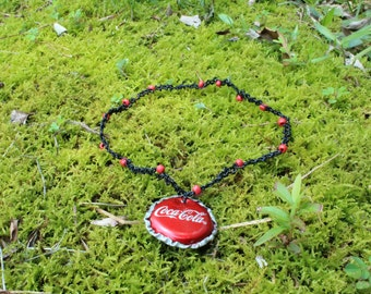 Soda Cap Necklace, Grunge Choker, Coca-Cola Necklace, Recycled Jewelry, Bottle Cap Necklace, Eco friendly choker