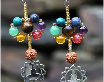 """Weaving of the chakras"" and stones earrings"