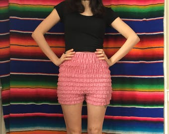 1940s High Waisted Frilly Ruffle Tap Shorts Hot Pants Pink Lingerie Size Small / Medium