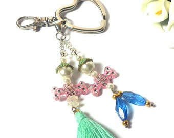 Couple Keychain - Doll Couple made from Beads and Tassel - Key Set Man / Woman - Funny Figures - Heart Keyring - Valentine Gift