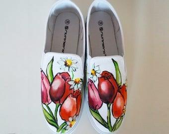 Tulips Slip Ons,  Hadpainted Shoes, Tulips Slip on Shoes, Hand Painted Tulip, Footwear Tulips, Handpaint Footwear, Slip on Shoes HANDPAINTED