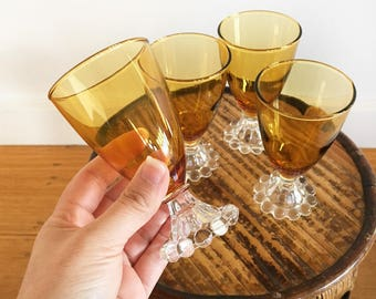 Set 4 Vintage amber glass goblets - wine glass - boho bohemian eclectic jungalow style decor home - wedding glasses - 1960s #0144