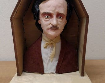 Bust of Edgar Allan Poe in Coffin
