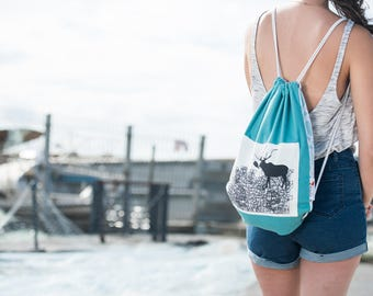 drawstring backpack, canvas backpack, drawstring bag, blue bag, canvas bag, fabric bag, geometric pattern , gym bag