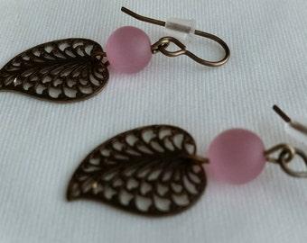 Stone & Filigree Leaf Earrings