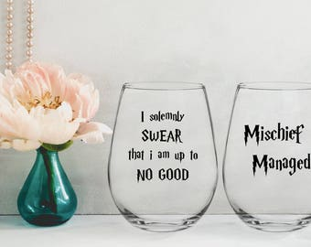 Harry Potter Wine Glass,mischief managed,i solemnly swear that i am up to no good,my patrons is wine,Harry potter,harry potter wine glasses