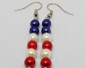 Red White And Blue - 4th Of July Earrings - Patriotic Dangle Earrings - USA Earrings - Red White And Blue Pearl Beads - Pearl Bead Earrings