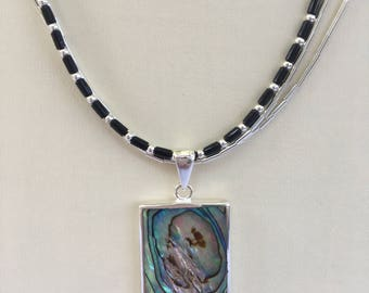 Abalone Pendant Necklace with liquid sterling silver and black heishi beads together with Handmade Card