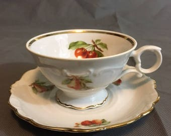 Vintage Bavaria Schuman Arzberg Germany Tea Cup and Saucer Cherry (main) Pear & Strawberries