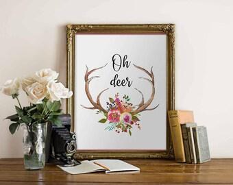 Antler art print home decor Oh deer print Teen Room Decor Floral deer decor printable wall art digital print deer printable antlet download