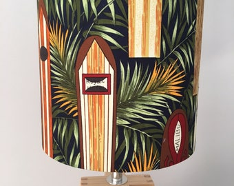 Tropical Surfboards Fabric Drum Lampshade