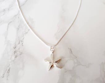 Starfish necklace - Silver plated necklace - starfish charm