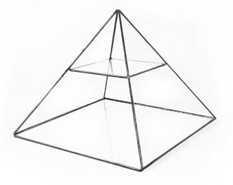 Pyramid Glass Display Shelf, Geometric Display, Glass Display Case, Jewelry Storage