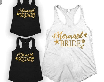 Mermaid bride shirt ,Bride squad Bridesmaids shirt, Bachelorette party shirt, bridal shirt, Bachelorette shirts, brides maid shirts,
