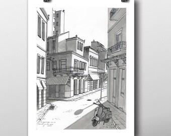 Athens Greece cityscape fine art giclée print, art illustration, art print, urban art drawing, vespa vintage retro hipster wall decor