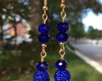 Beautiful Royal Blue Crystal Rhinestone Disco Ball Pave Earrings