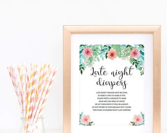 Late Night Diapers Sign Girl Baby Shower Decorations Printable Baby Shower Games Flower Diaper Thoughts Printable Sign Template Download FG1