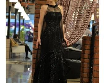 Black Maxi Lace Dress Long Evening Dress