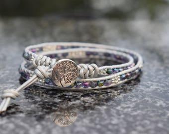 Double leather beaded wrap bracelet